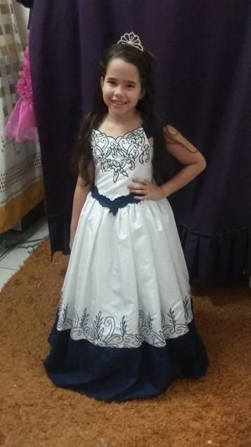 vestido de formatura infantil estampa