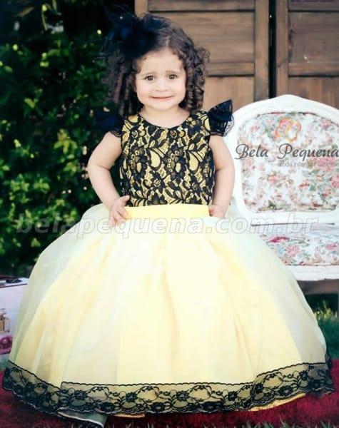 vestido de formatura infantil estampado