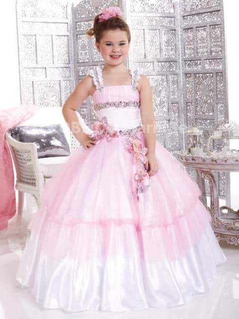 vestido de formatura infantil rosa babado