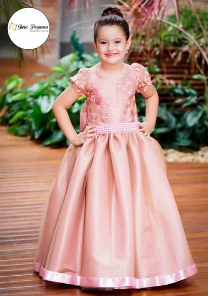vestido de formatura infantil rosa ideias