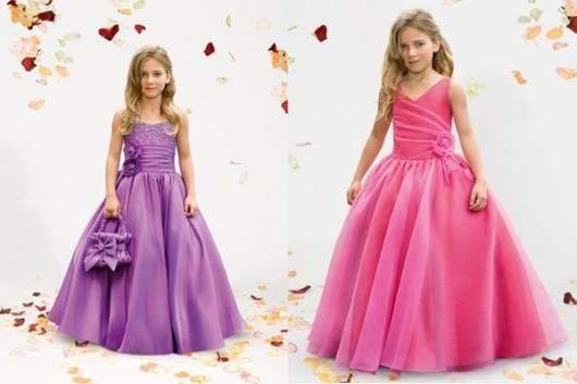 vestido de formatura infantil roxo e rosa