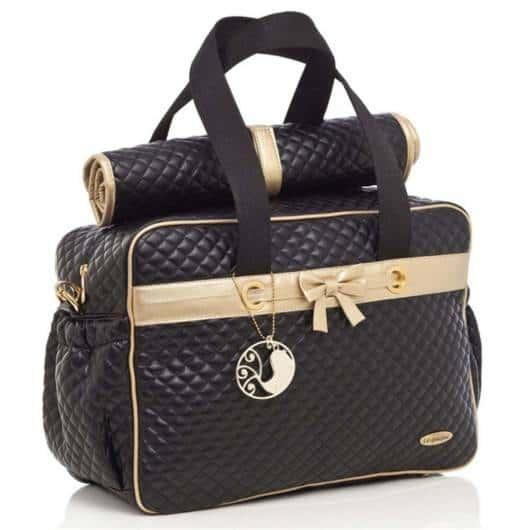 bolsa preta e dourada