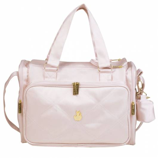 bolsa rosa e dourada