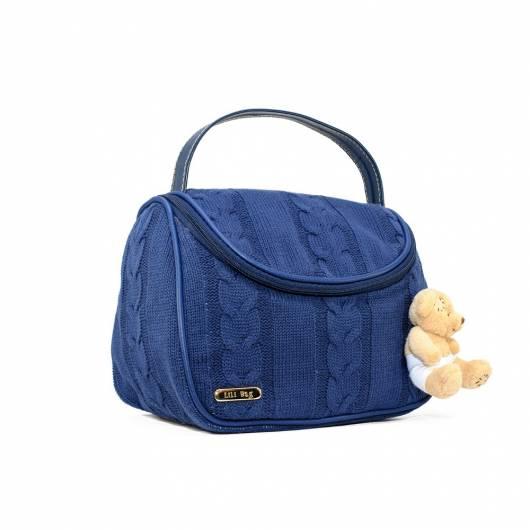 bolsa de tricô azul