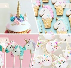 Montagem com cupcake e biscoitos de unicórnios.