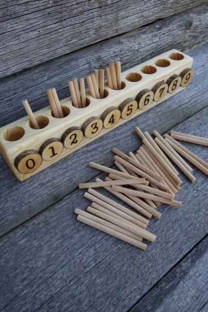 brinquedo madeira números