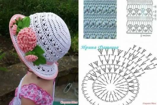 foto de chapéu de crochê branco com gráfico do trabalho ao lado