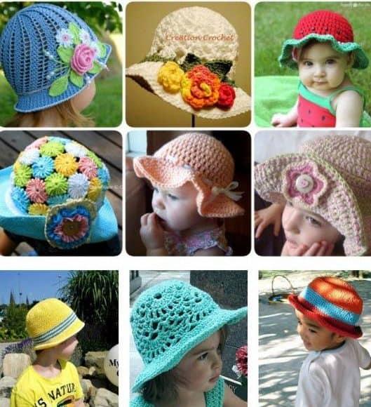 Fotos de crianças usando chapéu de crochê, meninos e meninas