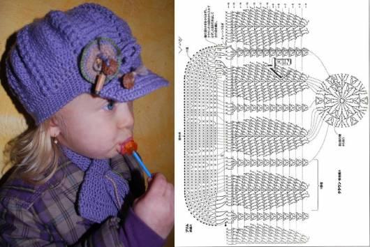 garota com boné de crochê lilás com cordão para pescoço e gráfico do crochê ao lado