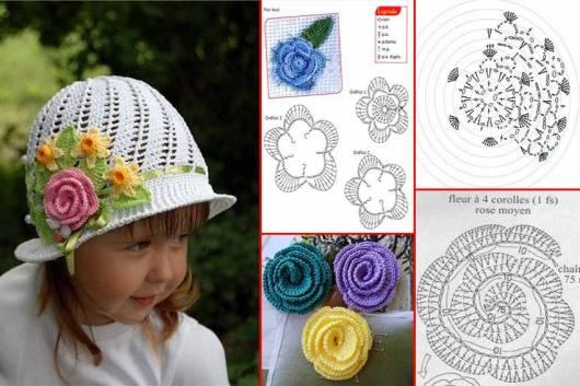 Foto de chapéu de crochê branco com gráfico da rosa aplicada com gráfico da flor ao lado