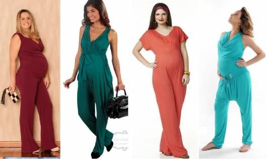Modelos vestem macacão em malha, nas cores bordô, verde escuro,laranja e azul claro.