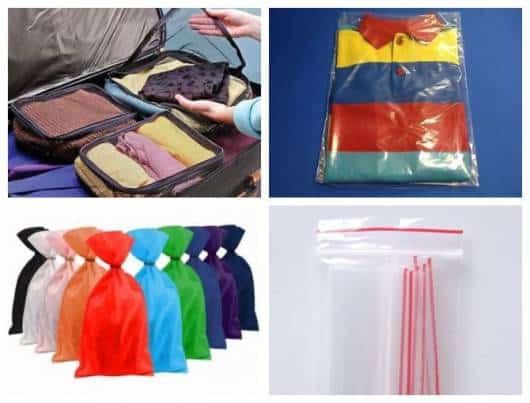 Montagem com diferentes tipos de saquinho para usar na organização da mala.