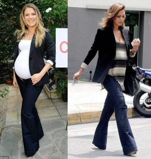 Modelos vestem calça jeans flare, blusas larguinhas e blazers.
