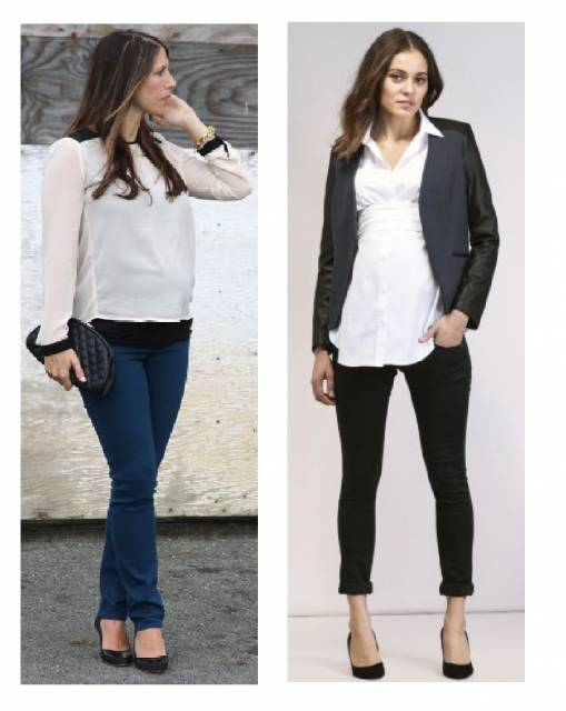 Modelos vestem looks com calça social em tons de azul e preto, camisas e sapatinho de salto.