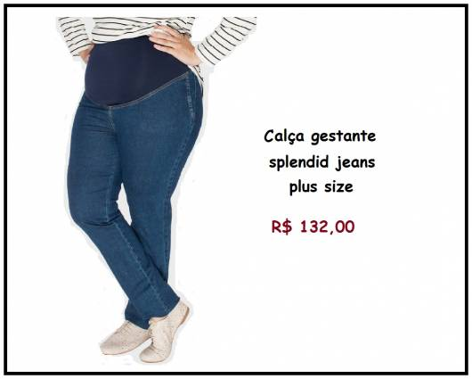 Modelo de calça gestante plus size da loja C&A, po 132,00 reais.