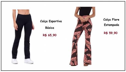 Modelos de calça da loja renner, nas cores preta e estampada e seus respectivos preços de 65,90 e 59,90.