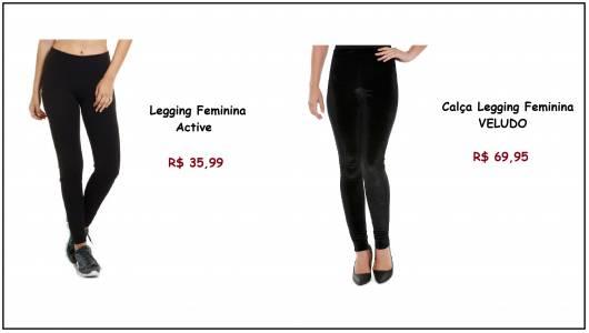 Modelos de calça legging preta, um modelo comum o outro em veludo.