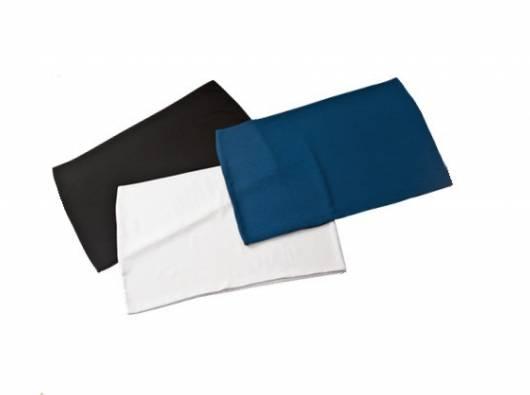 Faixas para calça gestante nas cores preta, branca e azul.