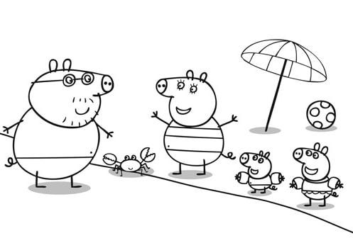 família Peppa na praia