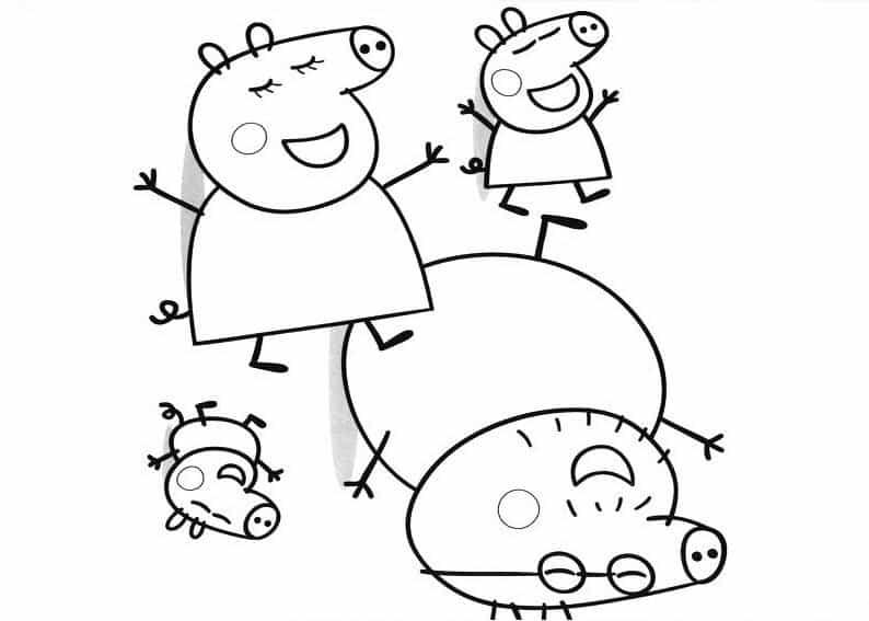 desenho para pintar família Peppa