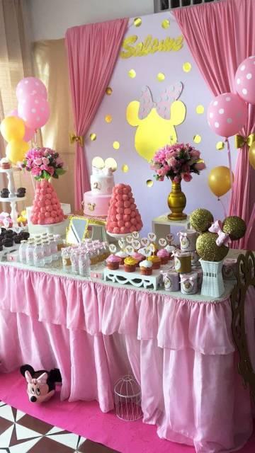 festa Minnie rosa e dourado
