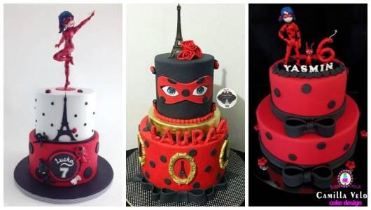 Montagem com três bolos diferentes com camadas.