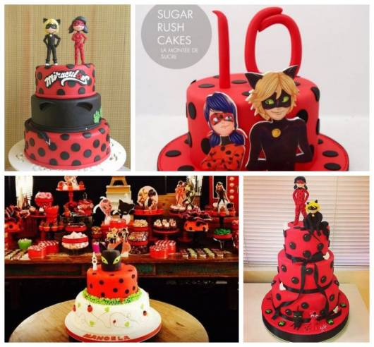 Montagem com quatro tipos de bolo com Ladybug e Cat Noir.