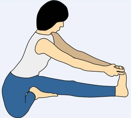 Desenho mostrando como alongar a perna para aliviar as câimbras na gravidez.
