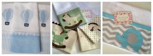 Montagem com três fotos de fraldinhas e toalhas para bebê.