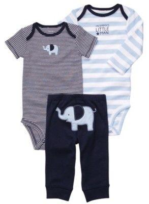 Dois bodys e uma calça com estampa de elefante.