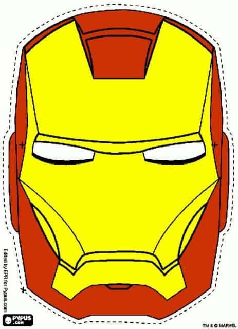Molde de máscara do Homem de Ferro amarela e vermelha.