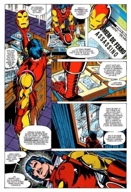 Trecho de quadrinho sobre o Homem de Ferro.