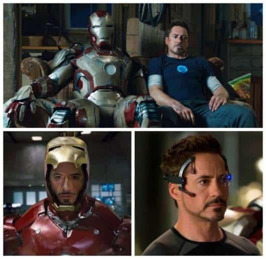 Prints de cenas dos filmes sobre o Homem de Ferro.
