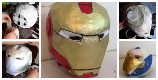 Montagem explicando como fazer uma máscara do Homem de Ferro com bexiga.