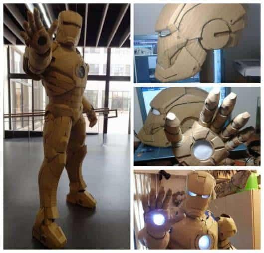 Montagem com detalhes de armadura feita de papelão.