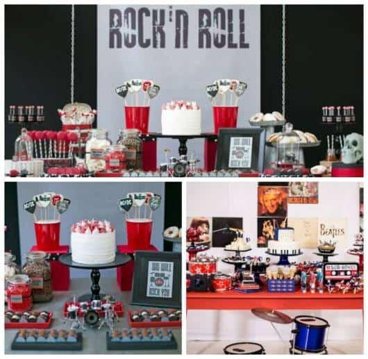 Montagem com fotos de decoração de festa Rock n' Roll.