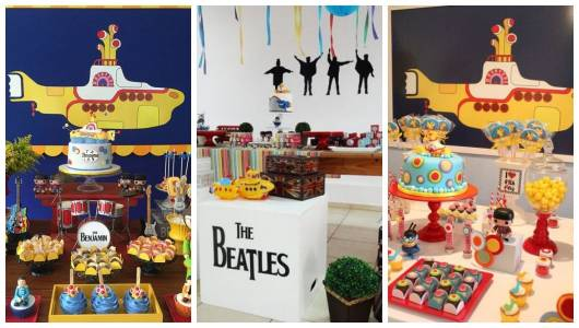Montagem com festas inspiradas no submarino amarelo, referência a música dos Beatles.