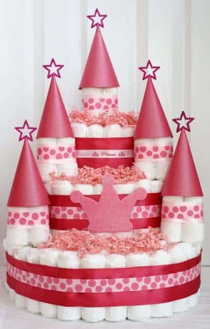 bolo de fralda de castelo