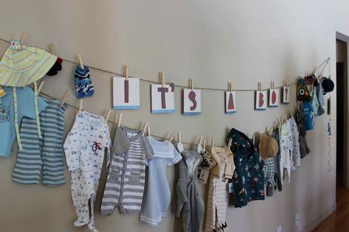 varal de roupas de bebe para chá de fralda