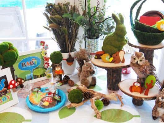 chá de fralda com tema animais da floresta