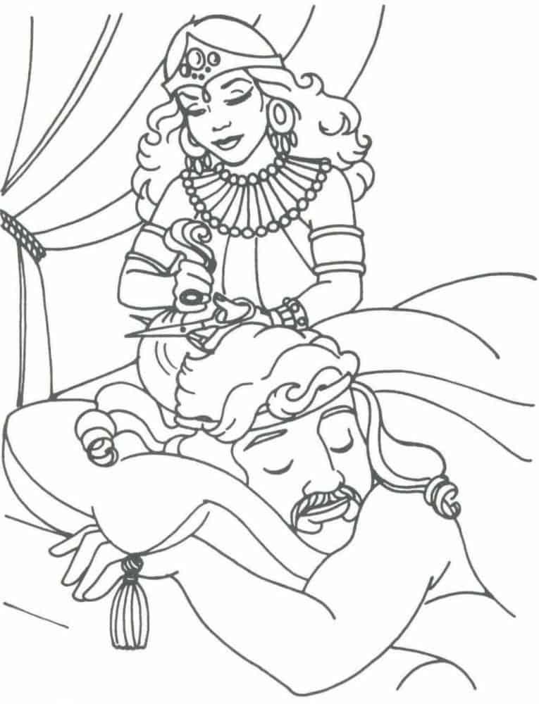 desenho Dalila cortando cabelo  de Sansão