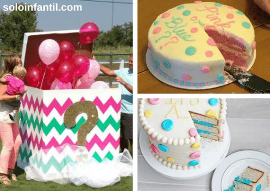 revelação do sexo do bebê pela cor do recheio do bolo ou por balões