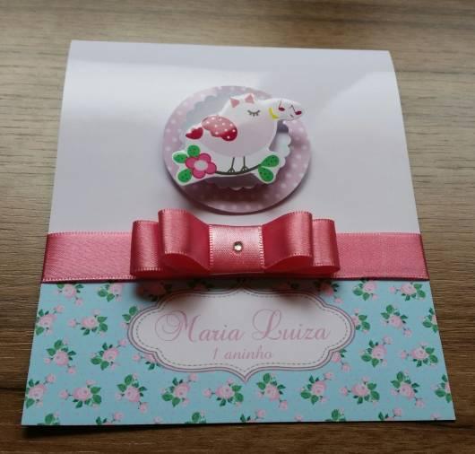 convite de festa azul e rosa com fita de cetim