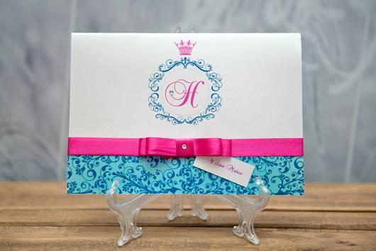 convite de festa azul e rosa feito em gráfica