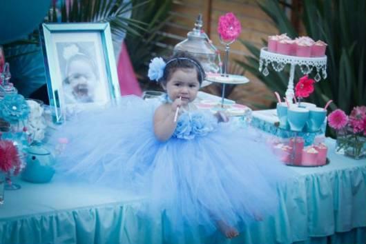 festa de aniversario princesa tema azul e rosa