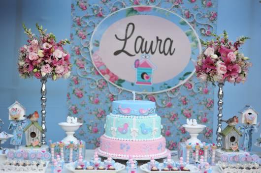 mesa de festa de menina azul e rosa