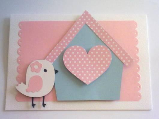 convite festa azul e rosa com passarinho