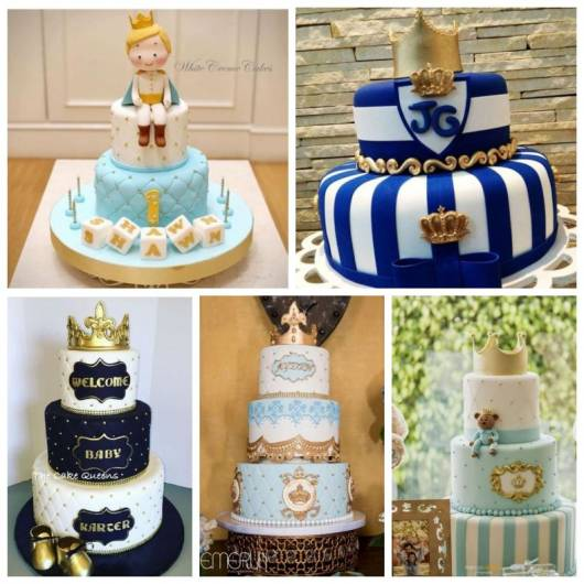 Montagem com cinco tipos de bolos decorados, com duas e três camadas.