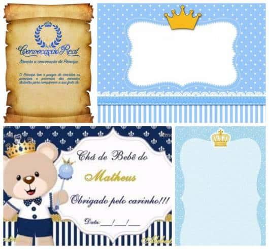 Quatro modelos diferentes de convite, incluindo um que imita pergaminho.