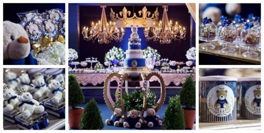 Montagem com itens decorativos para Chá de Bebê Príncipe Urso.
